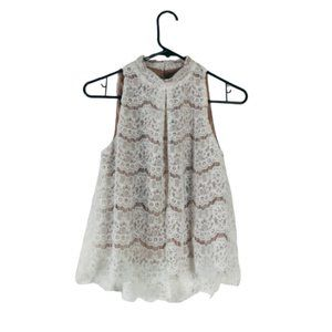 OffWhite Tank Top Sleeveless Lace Shirt Blouse NEW